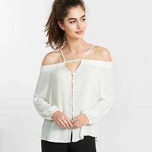 NWT Express Long Sleeve Cold Shoulder Blouse