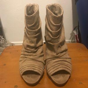 Suede peep toe booties