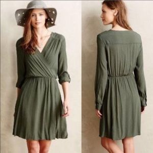 Anthropologie Dresses & Skirts - Anthropologie utility wrap dress in army green