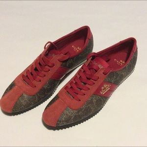 Coach Signature Sneakers Red/Brown Size 6.5 New