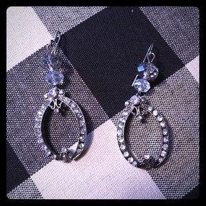 Charming Charlie Jewelry - Silver rhinestone grey bead drop dangle earrings