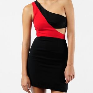 Black Halo Dresses & Skirts - Black Halo Kylie Color Block One Shoulder Dress