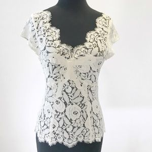 new | Karen Millen Lace Ribbon Trim Bow Top 4/6