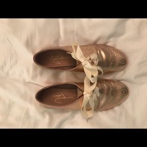 Report Signature Shoes - rose gold oxfords with ribbon laces