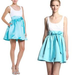 Aidan Mattox Dresses & Skirts - 👗 AIDAN MATTOX Ivory + Teal Colorblock Prom Dress