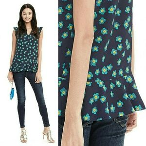 Banana Republic Tops - Banana Republic Floral v-neck ruffle tank