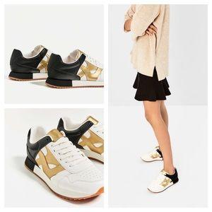 ZARA Tricolor Sneakers black white gold 6.5