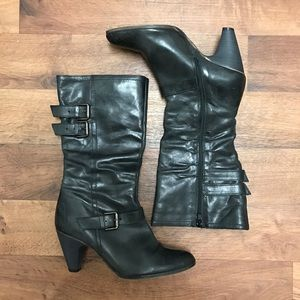 👢FIRM🎯 Leather Marble Black/Grey Boots Size 7 us