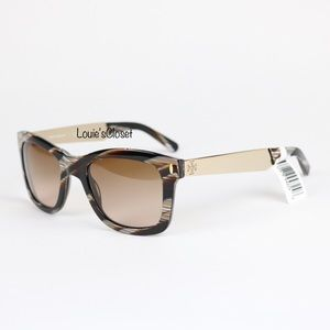 Tory Burch Vintage Square Sunglasses w/ Metal Logo