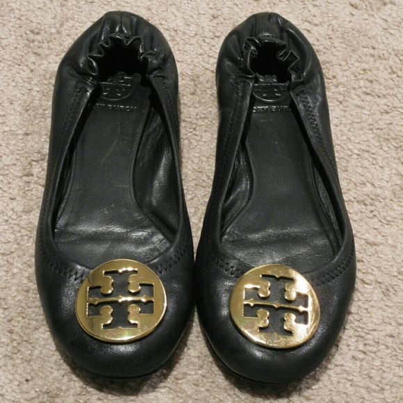 2cf964e417ea3f Tory Burch Shoes - Tory Burch Reva Black Leather Gold Emblem Flats 7