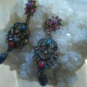 Multicolored Crystal and beaded jeweled earrings