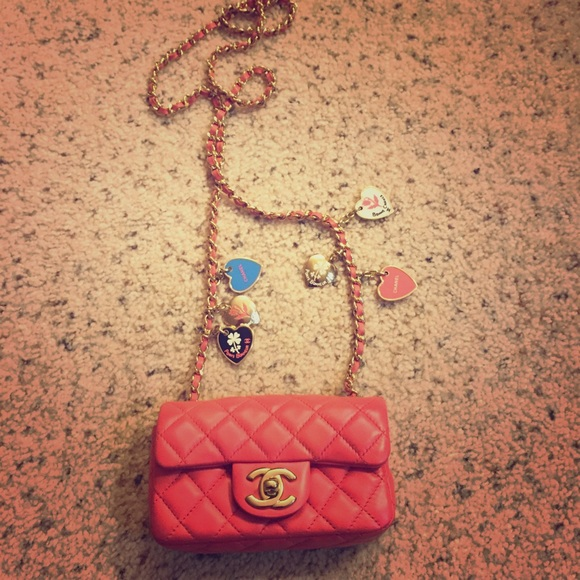 CHANEL Handbags - Vintage CHANEL Pink Mini Charm Bag