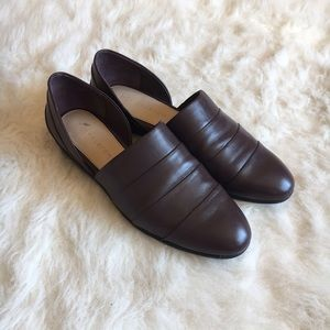 H by Halston Brown Leather D'Orsay Flats