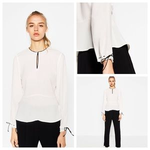 NWT Zara Blouse with Contrast Piping