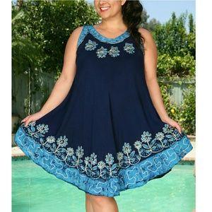 Ananda Design Dresses & Skirts - 1 LEFT🌷🌷PLUS Navy/Turquoise Batik Dress Coverup