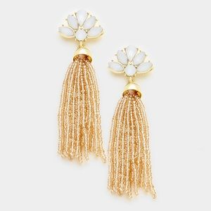Beaded tassel and crystal earrings gold and peach