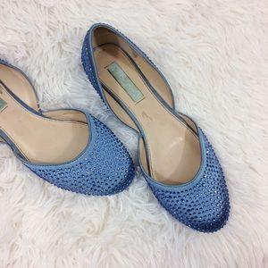 BETSY JOHNSON blue Jane bejeweled d'Orsay flats