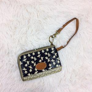 FOSSIL birdprint zip wallet coated canvas wristlet