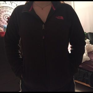 Black and pink soft north face
