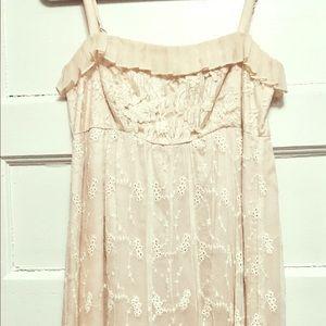 Anthropologie cream lace dress