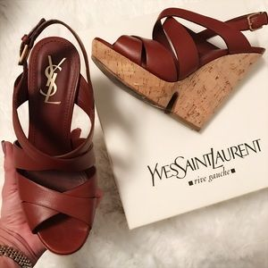 Yves Saint Laurent Shoes - YSL 🌹 DEAUVILLE WEDGE TURILLION LEATHER SIZE 39