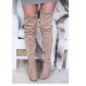 Boutique Shoes - Suede Tassel Chunky Heeled Over the Knee Boots