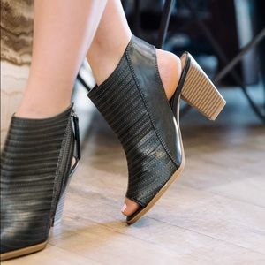 Chinese Laundry Shoes - Same!! Burnished Metallic Peep Toe Booties