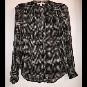 Diane von Furstenberg Sheer Button Down Blouse
