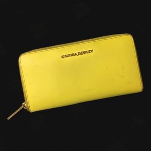 Cynthia Rowley Yellow Leather Zipper Wallet Slots