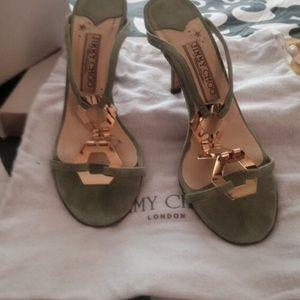 Jimmy Choo green suede sandal w/gold detail & box