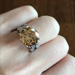 Jewelry - CZ Silver plated Engagement Ring Champagne
