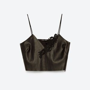 Zara faux leather embroidered cropped top