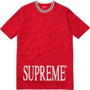 Supreme Red Logo Ribbed Tee