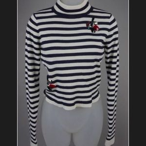 Zara navy/white striped sweater; Sz M