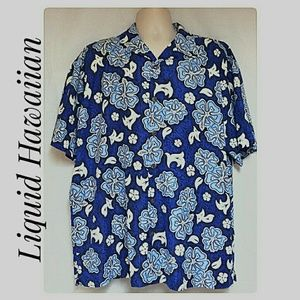 Men's Liquid Hawaiian  Shirt Blue White Size XL