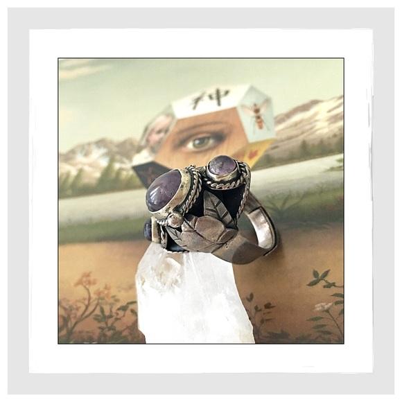 34b76bb4203b Vintage Sterling Silver Taxco Amethyst Poison Ring.  M 58b2ae94ea3f36061605ff1c