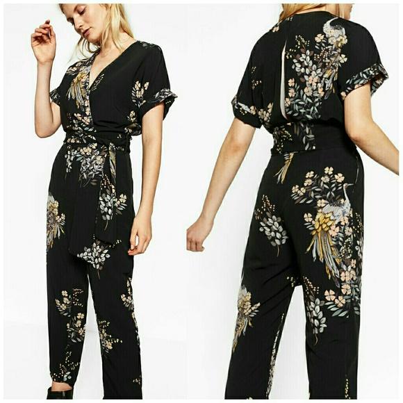 4aa67fed2b24 Zara Crossover Floral Jumpsuit Sz M