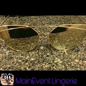 Cat Eye Mirrored Flat Lenses Sunglasses