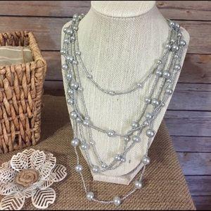 Grey Pearl Multi Strand Necklace
