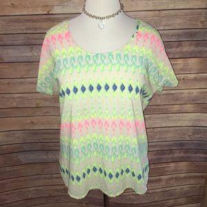 Fun & Flirt Tops - Bright and Beautiful Sheer Short Sleeve Blouse