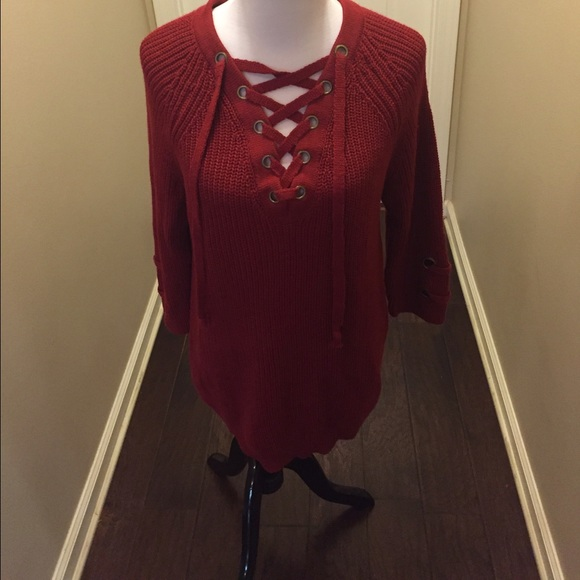 79% off miracle Sweaters - Red lace up sweater! from Autum's ...
