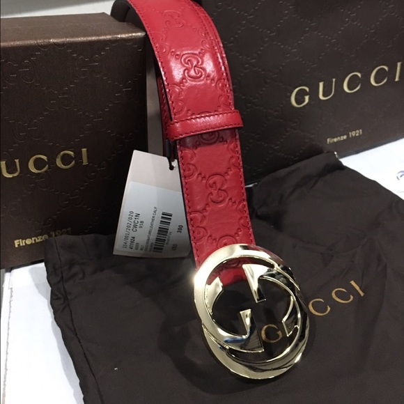 97f45a8bd7c New Red Gucci Supreme leather Belt