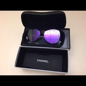 04dbdd08449 CHANEL Accessories - CHANEL Pilot Quilting Blue Mirror Sunglasses
