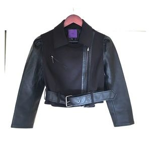 Forever 21 black crop moto jacket