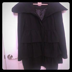 Anthropologie Elevenses Ruffled Black Coat XL