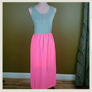 Dresses & Skirts - Hot Pink and Gray Maxi Dress