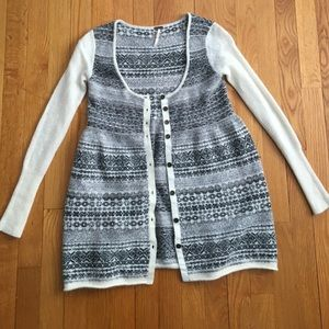 Free People grey/black/white cardigan