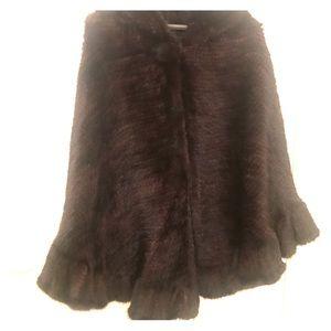 NWOT Real Fur Poncho with Hood O/S
