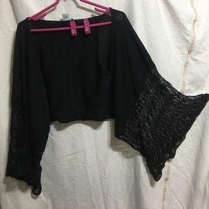BCBGMaxAzria Sweaters - BCBG Angel Wing Sleeved Shawl Black/ Silver