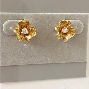 Jewelry - Gold Flower Rhinestone Stud Earrings